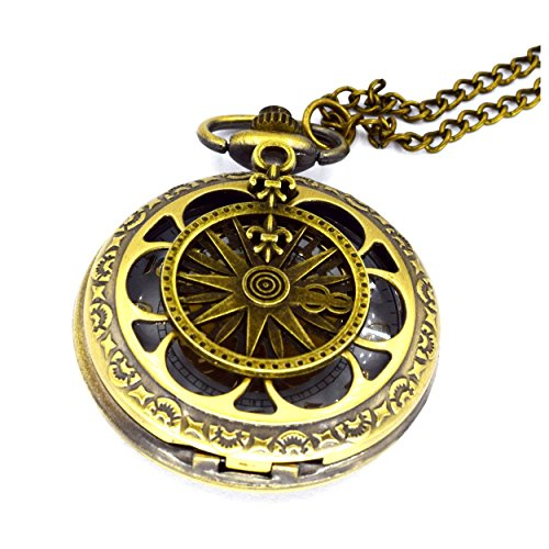 Glowlala Steampunk Victorian Compass pocket watch necklace nautical pirate pendant charm necklace from Glowlala®