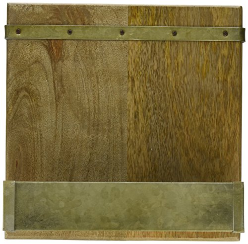 Mud Pie 4721001 Rustic Wood & Galvanized Metal Cookbook Holder, Brown by Mud Pie