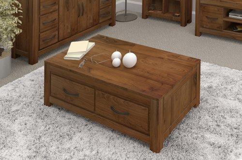 Grand furniture Couchtisch in nussbaum, mit vier Schubladen, rechteckig, groß