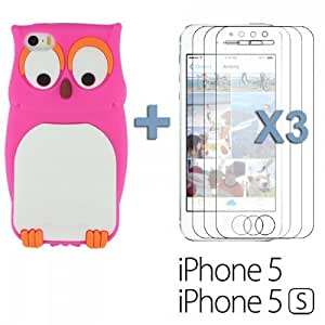 OnlineBestDigital - Owl Style 3D Soft Silicone Case for Apple iPhone 5S / Apple iPhone 5 - Hot Pink with 3 Screen Protectors