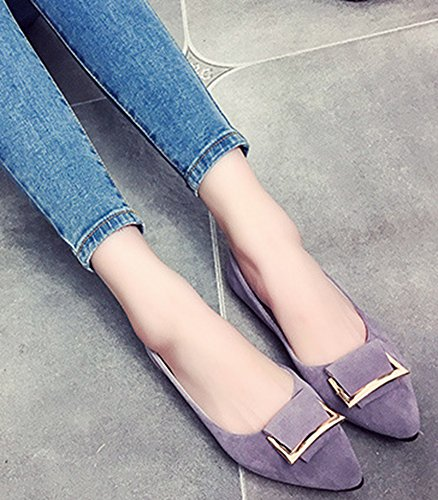 Aisun Women's Casual Pointy Toe Slip On Loafers Gray pUSNNC