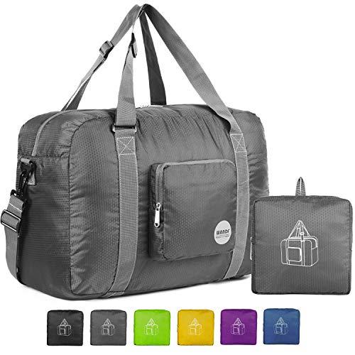 (Wandf Foldable Travel Duffel Bag Luggage Sports Gym Water Resistant Nylon, Grey)
