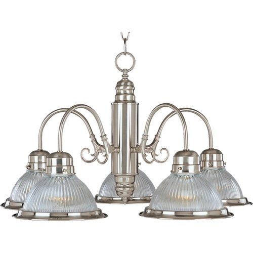 Maxim 91195CLSN Builder Basics 5-Light Chandelier, Satin Nickel Finish, Clear Glass, MB Incandescent Bulb , 40W Max., Dry Safety Rating, 2900K Color Temp, Standard Dimmable, Glass Shade Material, 3000 Rated Lumens