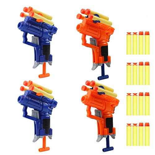 4 Pack Mini Foam Dart Toy Guns Foam Guns with 16 Foam Darts, Sport Party Favors Spring Powered Gun Kit for Kids (4 Pack Foam Guns)