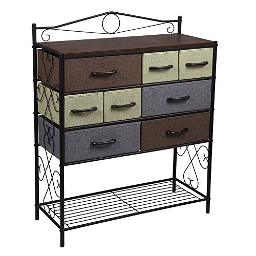 Black Fabric Mahogany Frame (Household Essentials Victorian 8-Drawer Chest | Storage Dresser or Entryway Table | Black)