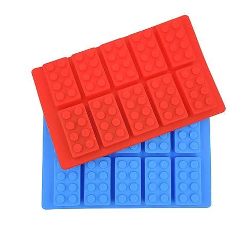 Lyanther Bloques de construcción Moldes Lego Lovers Ice Candy Cubo Moldes Chocolate Molde Moldes de Silicona