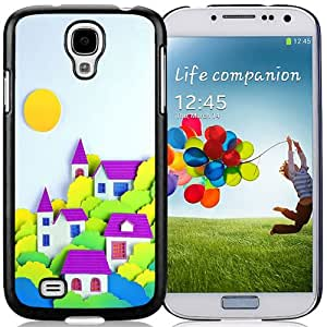 Fashionable Custom Designed Cover Case Samsung Galaxy S4 I9500 i337 M919 i545 r970 l720 With Cartoon Little Village Clip Art Phone Case Cover