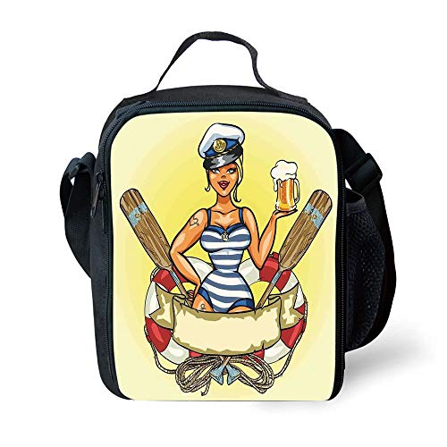 School Supplies Girls,Pin Up Sexy Sailor Girl Lifebuoy with Captain Hat and Costume Glass of Beer Feminine,Multicolor for Girls or boys Washable -