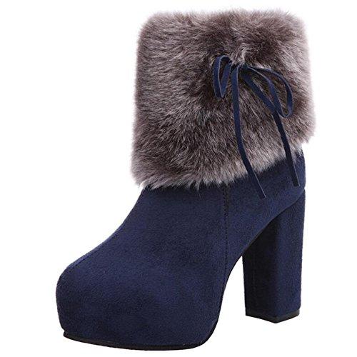 Zip Blu Snow Block Platform Binying Snowknot Boots Mashiaoyi Heel axwq1vOU