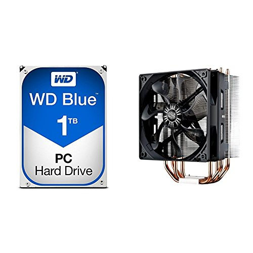 WD Blue 1TB SATA 6 Gb/s 7200 RPM 64MB Cache 3.5 Inch Desktop Hard Drive (WD10EZEX) with Cooler Master Hyper 212 EVO RR-212E-20PK-R2 CPU Cooler with 120mm PWM Fan bundle by