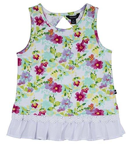 Nautica Girls' Little Sleeveless Fashion Tank Top Shirt, Bright Pink Florals, 6X ()
