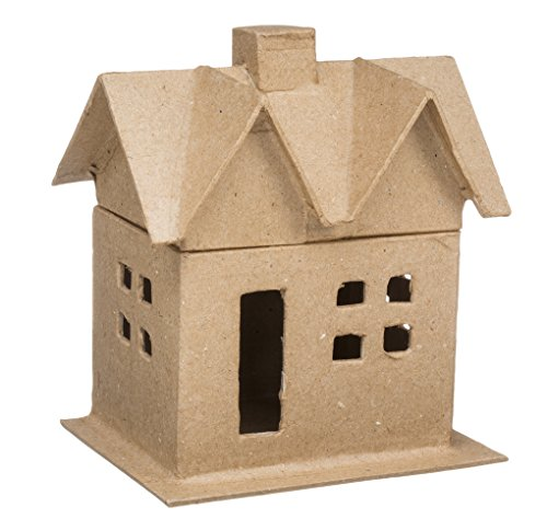 Price comparison product image Darice 2863-04 Small Paper Mache House Box for Craftwork,  Includes lid,  6-Inch