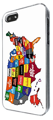 767 - North America Commercial Map Design iphone 5 5S Coque Fashion Trend Case Coque Protection Cover plastique et métal
