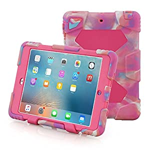 Aceguarder IPad Mini Case [ Hot] Outdoor Silicone Products Water proof Shock proof Rain proof Dirt proof Cover Case with stand for kids for Ipad Mini 3/2/1(outdoor gift3)(Camo Pink) by ACEGUARDER