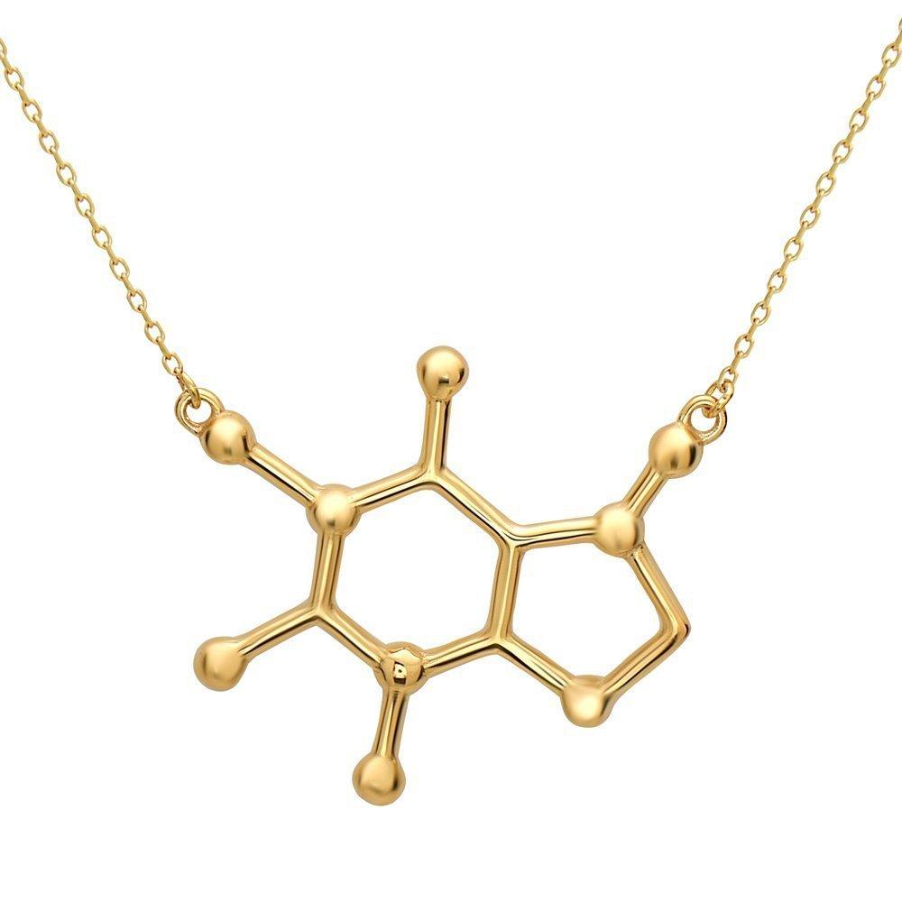 Serebra Jewelry Koffein Molekül Anhänger Halskette für Kaffee Junkies mit Silber Gold oder Rosegold Tönung COFF120398