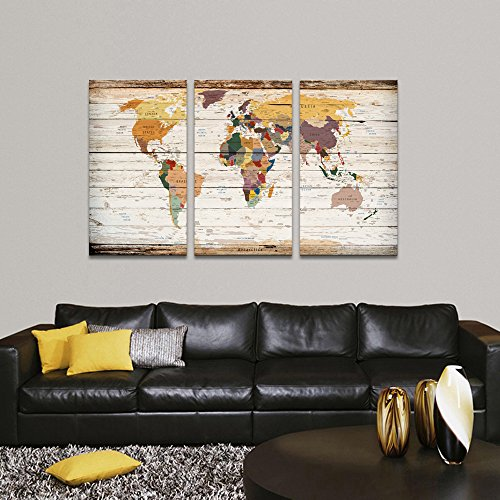 Visual art decor decor xlarge 3 piece retro wood texture push pin visual art decor decor xlarge 3 piece retro wood texture push pin map of world wall art city name picture on canvas framed map modern home office decoration gumiabroncs Choice Image