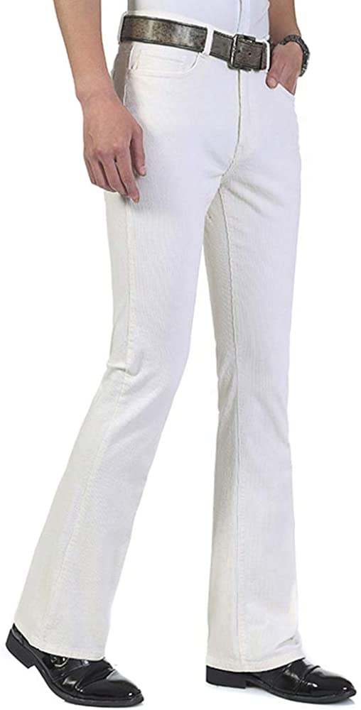 70s Disco Fashion: Disco Clothes, Outfits for Girls HAORUN Men Corduroy Bell Bottom Flares Pants Slim Fit 60s 70s Vintage Bootcut Trousers  AT vintagedancer.com
