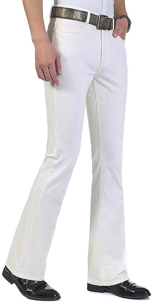 60s – 70s Mens Bell Bottom Jeans, Flares, Disco Pants HAORUN Men Corduroy Bell Bottom Flares Pants Slim Fit 60s 70s Vintage Bootcut Trousers $32.99 AT vintagedancer.com
