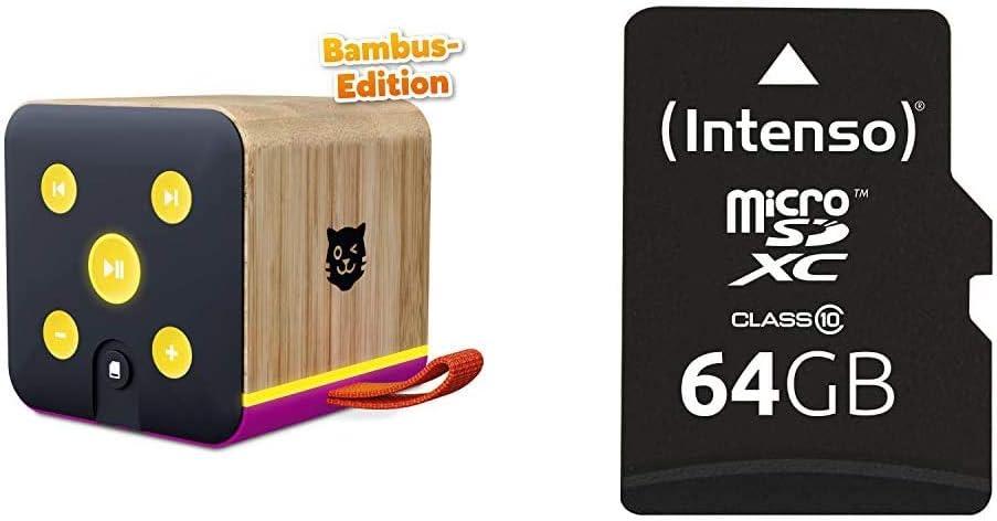 Lenco Tigerbox Lila Bambus Edition Bluetooth Lautsprecher Für Kinder Sd Karten Slot Bambus Gehäuse Intenso Micro Sdxc 64gb Class 10 Speicherkarte Inkl Sd Adapter Audio Hifi