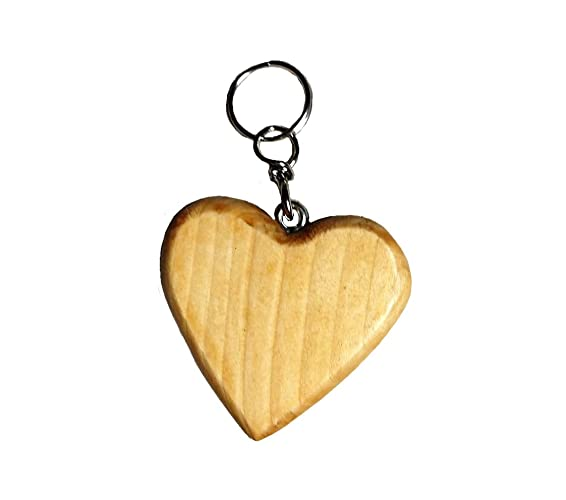 Llavero madera color castaño blanco en forma de corazón ...