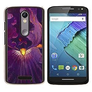 EJOOY---Cubierta de la caja de protección para la piel dura ** Motorola Moto X3 3rd Generation ** --Flor púrpura Dentro Pintura