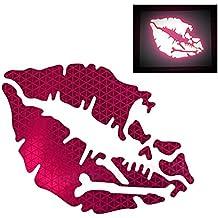 customTAYLOR33 High Intensity Reflective Vinyl Death Kiss Skull Crossbones Lips Decal Bumper Sticker - cars, motorcycles, helmets, wind screens, laptops, cellphones, (SE Hot Pink, 3 inch wide, PAIR)