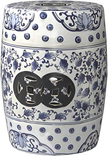 Safavieh Castle Gardens Collection Tao Blue and White Glazed Ceramic Garden Stool by Safavieh (Image #3)