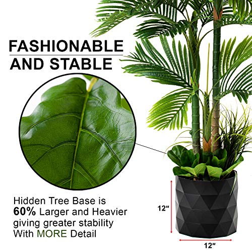 """GARDEN COUTURE Deluxe 78"""" Golden Cane Palm Silk Artificial Tree + Premium Fiddle Leaf Foliage in 8"""" Base + 12"""" Plant Pot Skirt 3"""