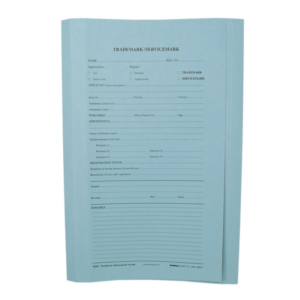 Blumberg Patent and Trademark Folders (100, U.S. Trademark Blue)