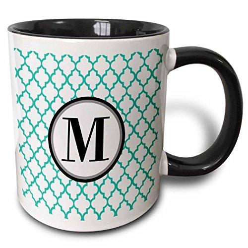 3dRose 252260_4 Mint green pattern monogram initial M Ceramic Mug 11oz Black/White
