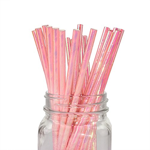 Ipalmay Iridescent Pink Coral Cocktail Paper Straws, Disposable Biodegradable, 7.75 Inches, Pack of 100