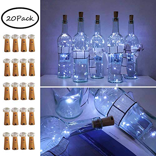 10 LED Bottle Cork String Lights Wine Bottle Fairy Mini String Lights Copper Wire, Battery Operated Starry Lights for DIY Christmas Halloween Wedding Party Indoor Outdoor (20 Pack-Cool White)