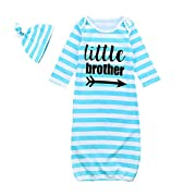 Mellons Newborn Baby Boys Girls Pajamas Letter Printed Stripe Long Sleeve Sleepers With Hat