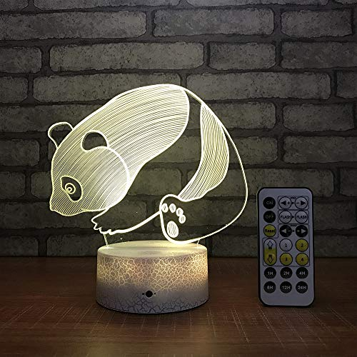 Beaulyn Panda Night Light for Kids 16 Colors +7 Colors Changing Touch&Remote Control 3D Decor Projector Lamp (Panda) (Panda Bear Lamp)