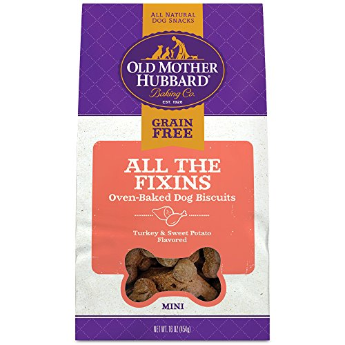 Old Mother Hubbard All The Fixins Grain Free Oven Baked Mini Dog Treats, Turkey & Sweet Potato, 16-Ounce (Old Mother Cupboard)