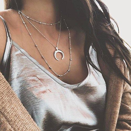 UNKE Multi-layer Choker Necklace Moon Pendant Charm Women Jewelry,2#