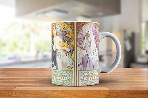 (Alphonse Mucha Four Seasons 2 (Les Saisons II) Art Nouveau Ceramic Gift Coffee (Tea, Cocoa) 11 Oz. Mug)