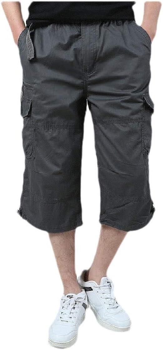 AngelSpace メンズコットンマルチポケットソリッドハイウエスト細いファッションカーゴツウィルショートパンツ