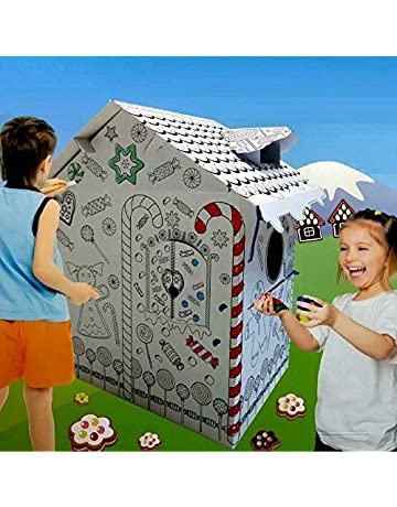 4ec7700df134 Rexco HW218738 New Large Colour Your Own Gingerbread House Childrens  Playhouse Kids Cardboard Wendy Tent Art
