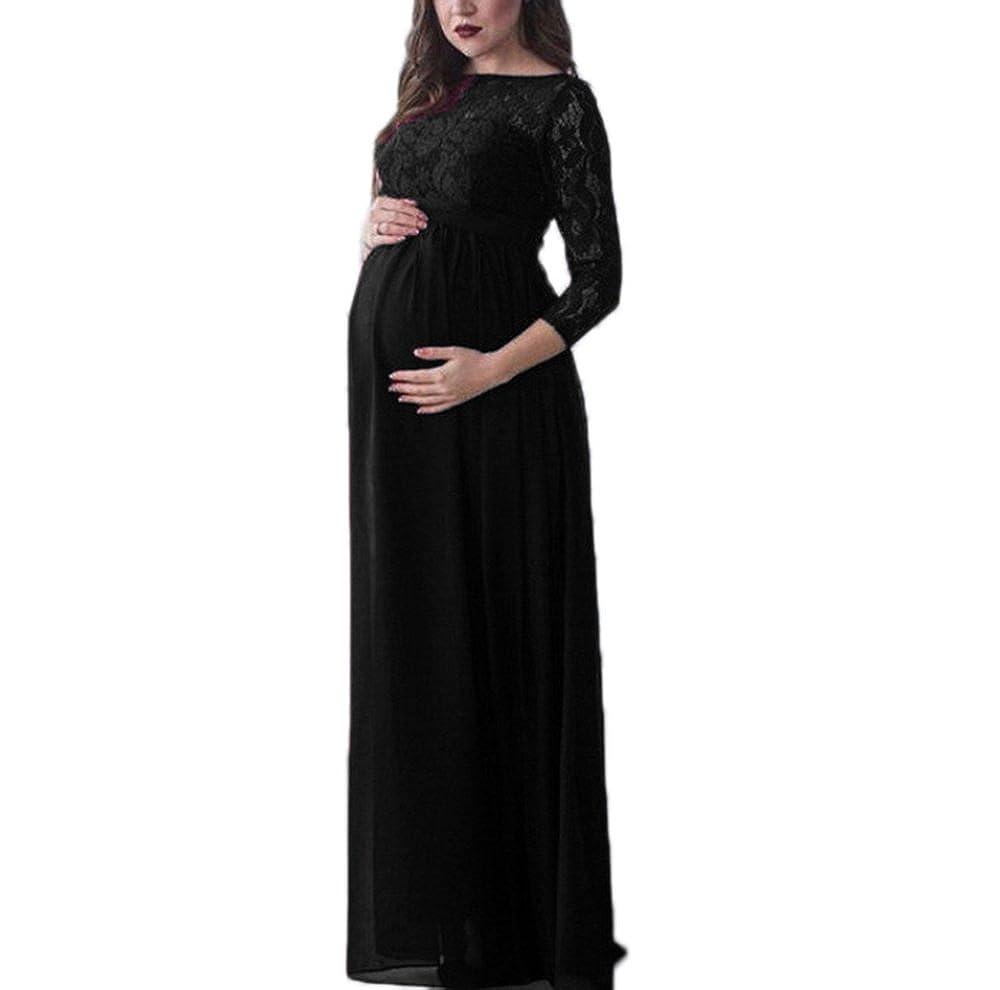 Donna incinta in maxi vestito di pizzo chiffon Elegante cocktail party Abito incinta