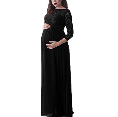 7695b25f3c347 huateng Pregnant Women Chiffon Lace Maxi Dress Elegant Party Cocktail Pregnant  Dress