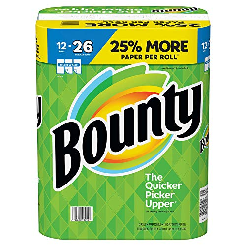 Bounty Select-a-Size Paper Towels, White, 12 Huge Rolls = 26 Regular Rolls (Bounty Paper Towels White 12 Large Rolls)