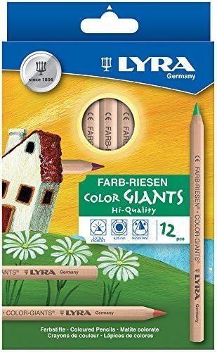 Black natural cardboard box of 12 coloured pencils Lyra colour giants