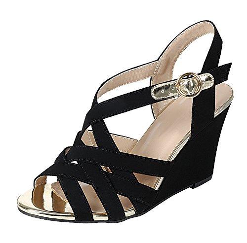 Cambridge Select Femme Orteil Ouvert Entrecroisé Treillis Tressé Cheville Strappy Boucle Sandale Compensée Noir