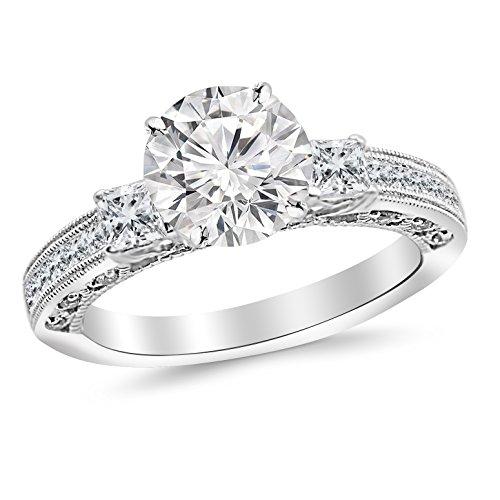 Tw Three Diamond Anniversary Ring (0.95 Carat t.w. 14K White Gold Round Three 3 Stone Princess Cut Channel Set Diamond Engagement Ring G-H)