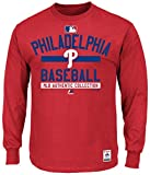 Philadelphia Phillies MLB Majestic Mens Long Sleeve Color Block Shirt Red Big & Tall Sizes