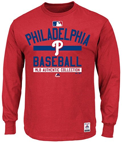 (Majestic Philadelphia Phillies MLB Mens Long Sleeve Color Block Shirt Red Big & Tall Sizes (4XL))