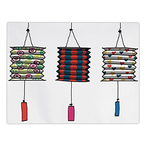 Polyester Rectangular Tablecloth,Lantern,Oriental Fireworks Vertical Geometrical Heart Shapes Fun and Celebration with Friends Decorative,Red Dark Blue,Dining Room Kitchen Picnic Table Cloth Cover,for