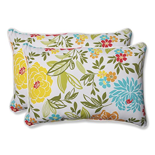 Pillow Perfect Outdoor Spring Bling Over-Sized Rectangular Throw Pillow, Multicolored, Set of -