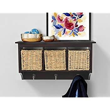 AHDECOR Entryway Hanging Cubby Shelf Coat Rack Storage Shelf With Seagrass  Baskets, Espresso Brown